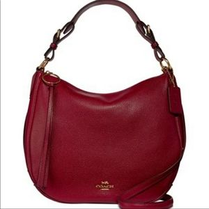 NWT Coach Sutton Hobo Deep Red Pebble Leather Bag